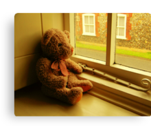 TEDDY LOOKING THROUGH THE WINDOW..WAITING... Canvas Print