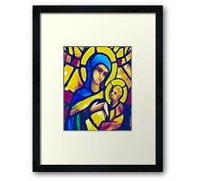 Madonna and Child - Stained Glass Framed Print