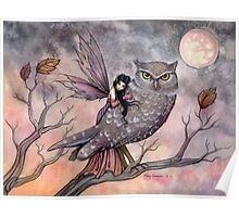 Friendship Fairy and Owl Fantasy Art Illustration by Molly Harrison Poster
