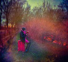 Girl with suitcase by Edyta Pękala