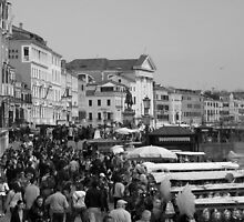 A Crowded Venice Street  by Linda More