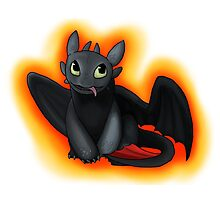 Toothless with Fire Background Photographic Print