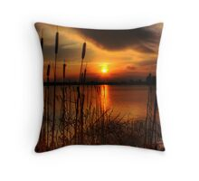bullrush Sunset Throw Pillow