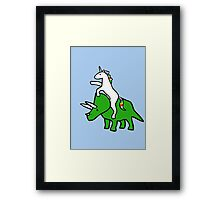 Unicorn Riding Triceratops Framed Print