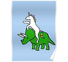 Unicorn Riding Triceratops Poster