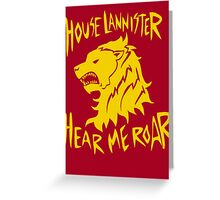Game of thrones House Lannister Hear me roar Greeting Card