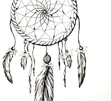 Dream Catcher-Feathers and Beads by Sarah Johnson