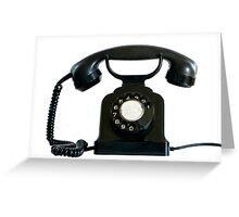 Old black phone isolated on white.   Greeting Card
