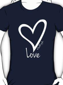 LOVE....#BeARipple White Heart on Blue T-Shirt