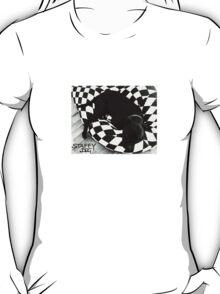 Staffy Dog black on black and white T-Shirt