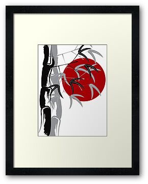 Oriental Red Sunrise Bamboo Zen by fatfatin