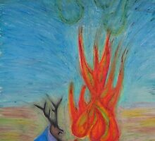 Elk and Fire by Luke Brannon