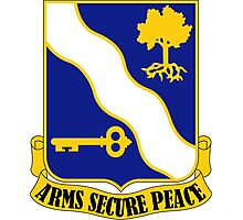 143rd Infantry Regiment - Arms Secure Peace Photographic Print