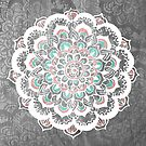 Pastel Floral Medallion on Faded Silver Wood by Tangerine-Tane