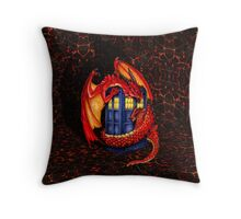 Blue phone box with Smaug The Red wyvern dragon Throw Pillow