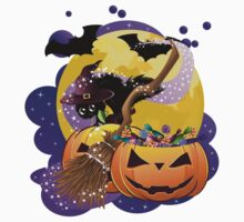 Halloween card with pumpkins and cat 2 Kids Clothes