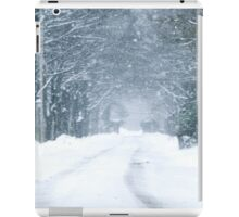 Snow Falling on Road iPad Case/Skin