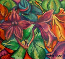Flowers in oil pastel by tonyarama