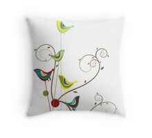 Colorful Whimsical Summer Birds and Swirls Throw Pillow