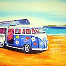 &#x27;Flower Power 60&#x27;s Kombi&#x27; at the beach by gillsart