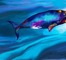 BowHead WHale Swimming Along by dotsofpaint