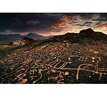 Paiute Petroglyphs and the Eastern Sierras Photographic Print