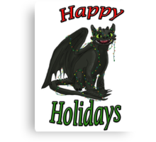 Toothless - Happy Holidays Canvas Print