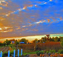 Sunset On The Country Farm During Autumn Harvest by Adri Turner