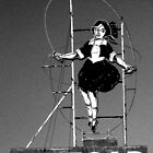 skipping girl in grayscale by Neil Mouat