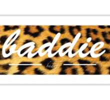 Cheetah Print - Baddie in White Script - Black Hoodie Sticker