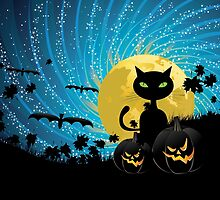 Halloween party background with cat by AnnArtshock