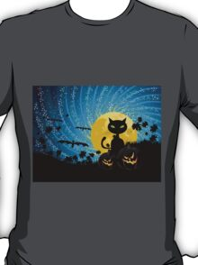 Halloween party background with cat T-Shirt