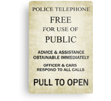 Free For Use Of Public - Tardis Door Sign, (please see description) Metal Print