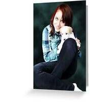 SPECIAL LOVE AND BOND OF HER PRECIOUS PUPPY Greeting Card