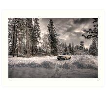 Volvo in the Snowstorm Art Print