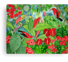 Red Iiwi Garden Canvas Print