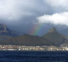 Rainbow over Cape Town, South Africa by LisaRoberts