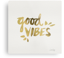 Good Vibes - Gold Ink Metal Print