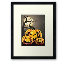 Scary Pumpkins in Forest 2 Framed Print
