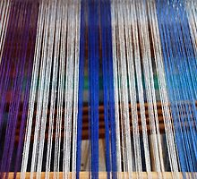 Wires in a weaving-loom by Arie Koene