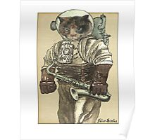Space Cat with Saxophone Poster