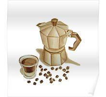Moka Pot with Espresso Shot Poster