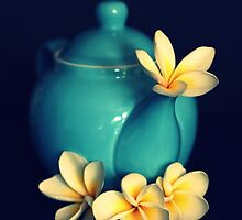 Blue Teapot And Frangipanis by Evita