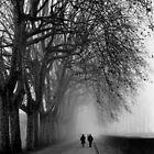 Strollers in the Fog - Lucca by Jon Julian