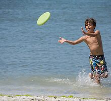 throwing the frisbee by Anne Scantlebury