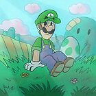 Luigi with a Yoshi Egg by SaradaBoru