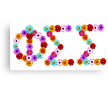 Phi Sigma Sigma Flower Letters Canvas Print