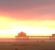 Pier at Sunset, Huntington Beach, California Sticker