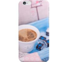 Cup of coffee on blue wooden tray with chocolate iPhone Case/Skin
