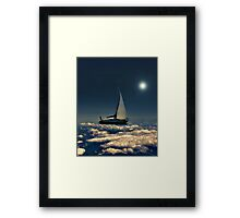 Navigating Trough Clouds Dreamy Collage Photography Framed Print
